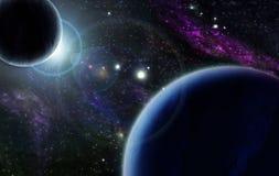 Por do sol com o planeta de dois azuis Imagem de Stock