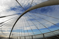 Por do sol com a ponte Fotografia de Stock