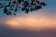 Por do sol com um céu dramático Imagens de Stock