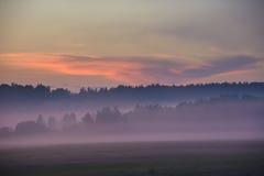 Por do sol cor-de-rosa na região de Kaluga, Rússia do verão fotografia de stock