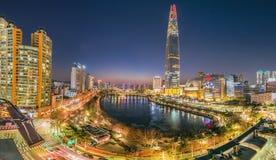 Por do sol crepuscular em Han River seoul Coreia fotografia de stock royalty free