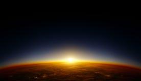 Por do sol da órbita ilustração royalty free