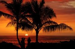 Por do sol da angra do paraíso, Oahu Havaí Imagem de Stock