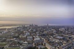 Por do sol da arquitetura da cidade de Liverpool Fotografia de Stock
