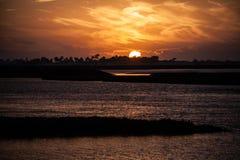 Por do sol da baía Fotografia de Stock