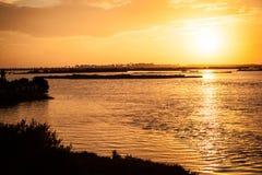 Por do sol da baía Imagem de Stock Royalty Free