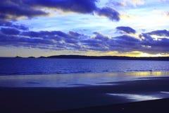 Por do sol da baía Foto de Stock Royalty Free