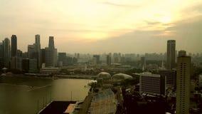 Por do sol da baía de Singapura Fotografia de Stock