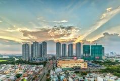 Por do sol da beleza em Ho Chi Minh City, Vietname Fotografia de Stock