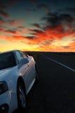 Por do sol da borda da estrada Fotos de Stock Royalty Free