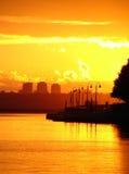 Por do sol da cidade Imagens de Stock Royalty Free