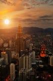 Por do sol da cidade Imagens de Stock