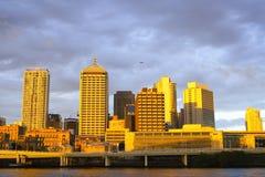 Por do sol da cidade de Brisbane Fotografia de Stock
