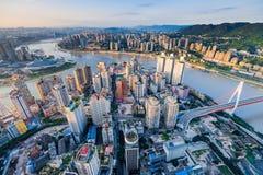 Por do sol da cidade de Chongqing Fotografia de Stock