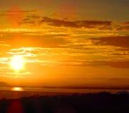 Por do sol da cidade de Guayana Fotos de Stock Royalty Free