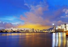 Por do sol da cidade de Hong Kong foto de stock royalty free