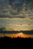 Por do sol da cidade de Kiev. Ucrânia Fotografia de Stock