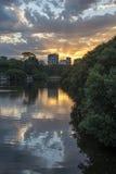 Por do sol da cidade de Parramatta Foto de Stock Royalty Free
