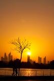 Por do sol da cidade do festival de Dubai Imagem de Stock Royalty Free