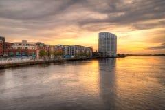 Por do sol da cidade do Limerick Imagem de Stock