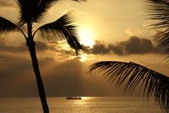 Por do sol da costa de Kona Foto de Stock Royalty Free
