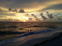 Por do sol da costa do golfo de Florida Imagem de Stock Royalty Free