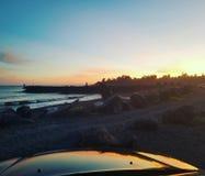 Por do sol da costa oeste imagens de stock royalty free