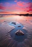 Por do sol da estrada da Costa do Pacífico Fotografia de Stock Royalty Free