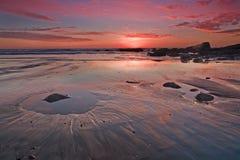 Por do sol da estrada da Costa do Pacífico Imagens de Stock Royalty Free