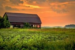 Por do sol da exploração agrícola imagens de stock