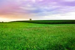 Por do sol da exploração agrícola de Amish foto de stock
