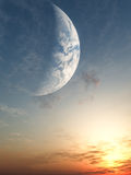 Por do sol da fantasia ilustração do vetor