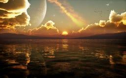 Por do sol da fantasia da ficção científica ilustração royalty free