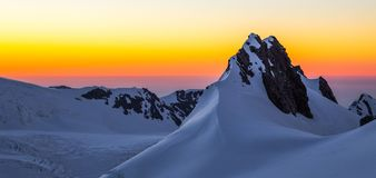 Por do sol da geleira do Fox fotos de stock royalty free