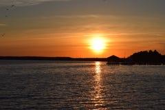 Por do sol da ilha de Fager, Maryland Imagem de Stock