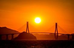 Por do sol da ilha de Gadeokdo Fotografia de Stock Royalty Free