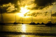 Por do sol da ilha de Virgin Fotografia de Stock