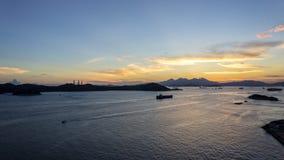 Por do sol da ilha do Ap Lei Chau Fotografia de Stock