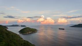 Por do sol da ilha do Ap Lei Chau Fotografia de Stock Royalty Free