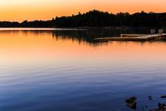 Por do sol da lagoa do ponto Imagens de Stock Royalty Free
