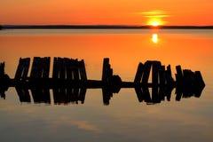 Por do sol da meia-noite Imagens de Stock Royalty Free