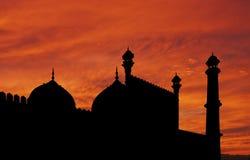 Por do sol da mesquita de Deli Fotografia de Stock Royalty Free