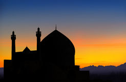 Por do sol da mesquita de Isfahan fotos de stock