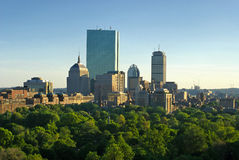 Por do sol da mola de Boston Imagens de Stock