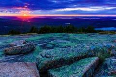 Por do sol da montanha de Cadillac Fotografia de Stock