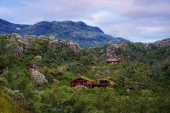 Por do sol da montanha de Noruega Imagem de Stock Royalty Free
