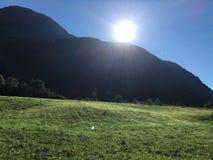Por do sol da montanha de Noruega Foto de Stock Royalty Free