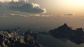 Por do sol da montanha, paisagem Foto de Stock Royalty Free