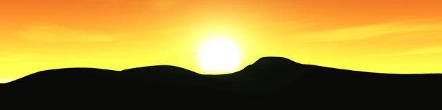 Por do sol da montanha, paisagem Fotos de Stock
