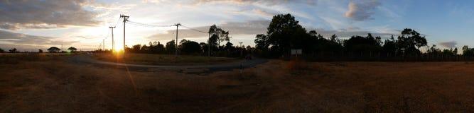 Por do sol da noite do panorama da imagem Fotos de Stock